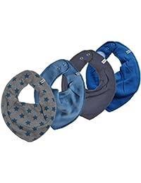 Pippi - Juego de 4 baberos para niños, diseño de estrellas, color azul y gris