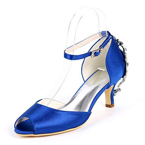 Seraph y1195-10h donne raso strass prom caviglia cinturino peep toe midio tacco décolleté sposa scarpe,blue,eu41
