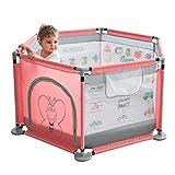 WJSW Babyspielzeug 124x66cm Pink Puzzle Kinder Laufgitter mit Übungszugring und stabilem Sockel Kindergartenmöbel Aktivitätsspielbereich Zaun