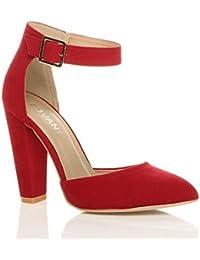 Donna tacco alto blocco cinturino caviglia fibbia punta décolleté scarpe  taglia bf3f1654d66