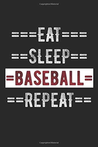 "Baseball Journal - Eat Sleep Baseball Repeat: 100 Page Lined Journal -  6"" x 9"""