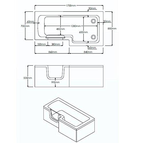 Badewanne 1700×850 mm / 170×85 cm HOSOLARNA mit Tür inkl. Duschaufsatz, Schürze und Ablauf