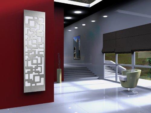 Badheizkörper Design Downtown 3, HxB: 180 x 47 cm, 1118 Watt, weiß / Edelstahl mattiert (Marke: Szagato) Made in Germany / moderner Bad und Wohnraum-Heizkörper (Mittelanschluss) Test