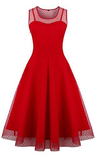 Oriention Oriention Plus Gr??e Elegant Damen festliche Kleider Spitzenkleid Cocktailkleid Knielanges Vintage 50er Jahr hochzeit Party EU Size 38-54 (42, Rot) (Lila Plus Size Kleid)