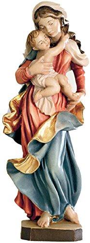 Ferrari & Arrighetti Imagen Virgen María con el Niño Jesús en Madera de Arce Pintada a Mano - 12 cm