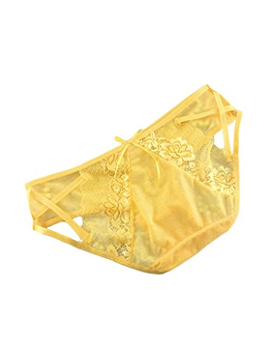 Legou Damen Thongs Spitze Slips Lace Rosen Thongs Transparente Tanga G-Strings Gelb