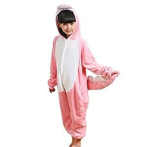 JT-Amigo - Pigiama Tutina Costume Animale - Bambina e Bambino - Dinosauro Rosa, 9-11 Anni