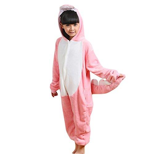 Free Fisher Kinder Overall aus Fleece, Tier-Schlafanzug Warm, Rosa Dinosaurier (Kostüme Rosa Dinosaurier)