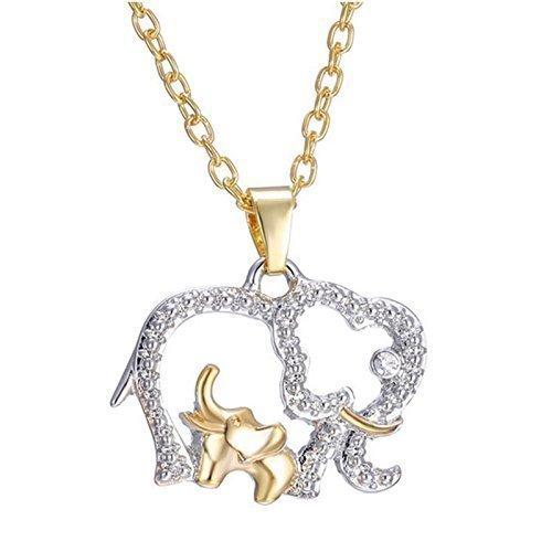 Nueva mamá elegante collar de cristal y bebés elefantes collar de la...
