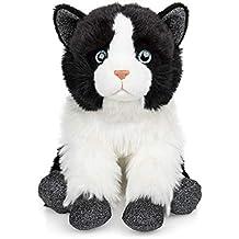 Cat Mad Designs Peluche de Gato Blanco y Negro, tamaño Grande