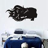 JXTK Adesivo murale Salone di Bellezza Ragazza Decorazione per Parrucchieri Carta autoadesiva Articoli per la casa 57X113CM