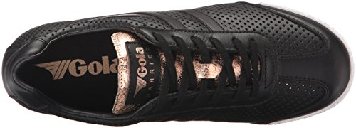 Gola Harrier Glimmer Lth Noir / Or Rose, Sneaker Donna Nero (noir / Or Rose Par)