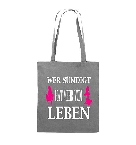 Comedy Bags - Wer sündigt hat mehr vom Leben. - Jutebeutel - lange Henkel - 38x42cm - Farbe: Schwarz / Weiss-Neongrün Dunkelgrau / Weiss-Pink