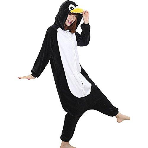 Unisex Onesie Pyjamas Overall Einteiler/Pyjama Schlafanzug Für Erwachsene Schwarzer Pinguin L (Einteiler Schlafanzug Kostüm)
