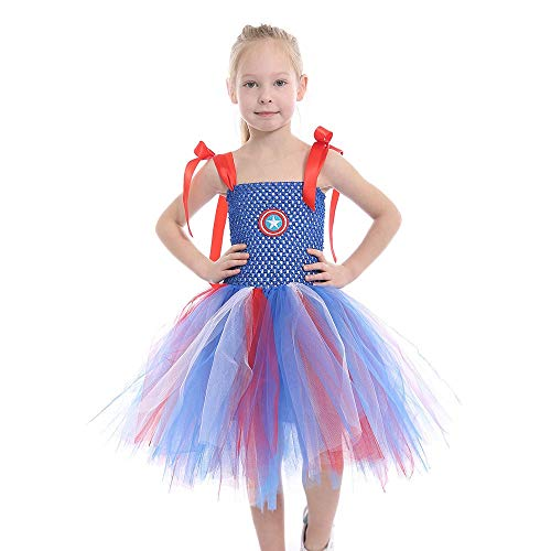 Kostüm Lyrische Stück 2 - ZONA Elegent Tanz Kostüm Kleider Für Kleinkind Mädchen Ärmellos Tube Halloween Ostern Karneval Festival Holiday Sweet Party Tüll Patchwork Blau Bezaubernd (Color : Blue, Size : L)
