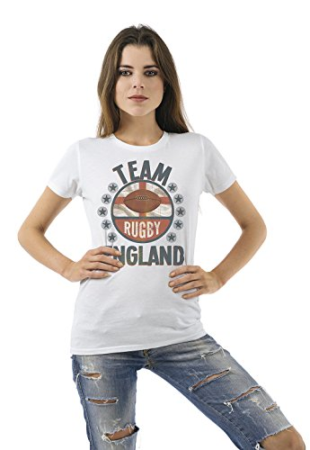 Team England Rugby Damen Ladies Retro T-Shirt (Rugby Team England T-shirt)