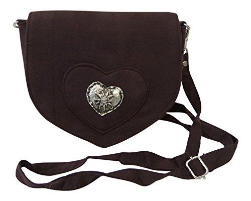Elegante Trachtentasche im Wildleder-Look - Dirndltasche mit Herz Edelweiss Applikation fürs Dirndl (dunkel-braun)