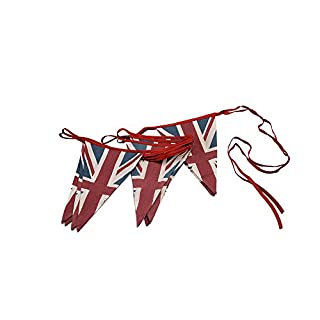 ASVP Shop® Vintage British Union Jack Textile Flag Cloth Fabric Bunting Retro Banner UK (5 m, Red, Blue, White)