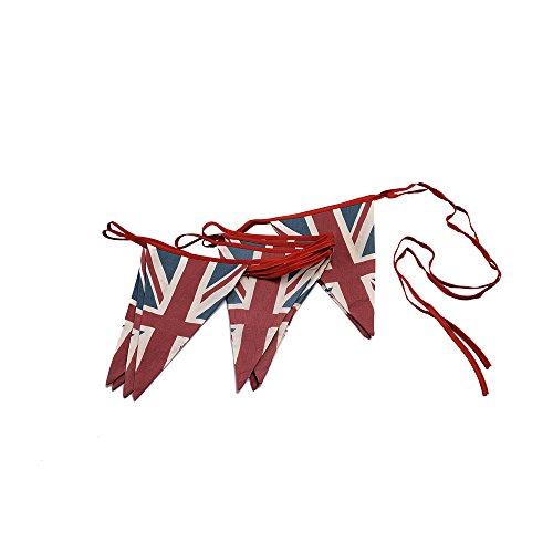 ASVP Shop Wimpelkette/Girlande Britischer Flagge/Union Jack im Vintage-Design aus Stoff, Retro -