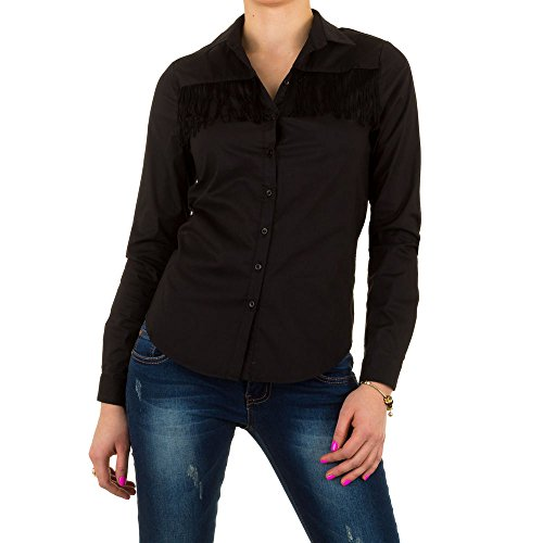 Damen Bluse, FRANSEN HEMD BLUSE, KL-L242 Schwarz