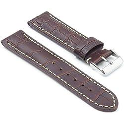 DASSARI Concord Dark Brown Croc Leather watch Band for BREITLING 24/22 24mm