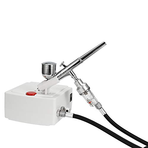 Kkmoon 100-250v professionale gravity aerografo di compressore d'aria a doppia azione con alimentazione per unghie con pennello a spruzzo per torta artigianale