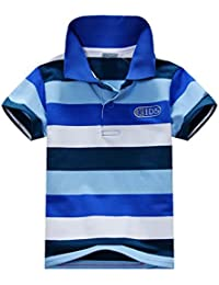 c60584e3 ESHOO Kids Boys Girls Short Sleeve Striped T-Shirt Polo Shirts Summer