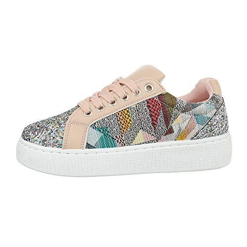 Ital-Design Damenschuhe Freizeitschuhe Sneakers Low Synthetik Rosa Multi Gr. 36 (Design Sneaker)