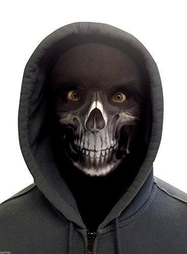 Wild Star Hearts - GRIM REAPER - Weiß Lycra Gesichtsmaske (Grim Reaper Maske Für Erwachsene)