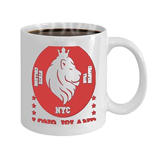 Personalized BirthdayAnniversaryCustomized New York Gift Typography 11oz Tee Lion White King Fashion Cup Sport Celebrating 35SjLAqc4R