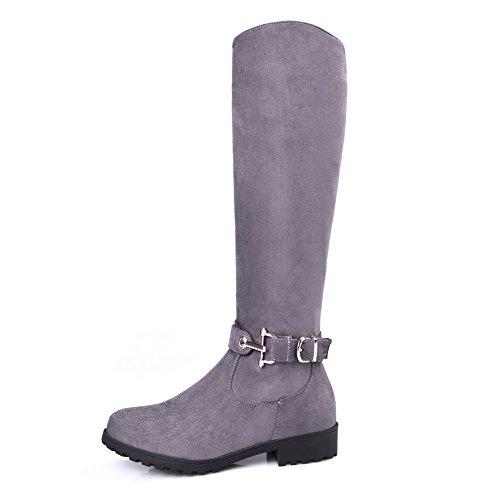 VogueZone009 Damen Mattglasbirne Reißverschluss Niedriger Absatz Mitte-Spitze Stiefel Grau