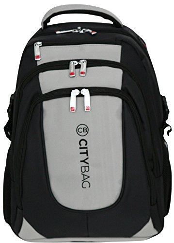 Stil Brustgurt (Laptop-Rucksack Backpack Laptopfach geeignet für bis zu 39,6 cm (15,6 Zoll) Grau)