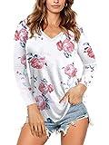 AMORETU Tshirt Damen Langarmshirt V Ausschnitt Bluse Blumen Oberteil Rosa 36