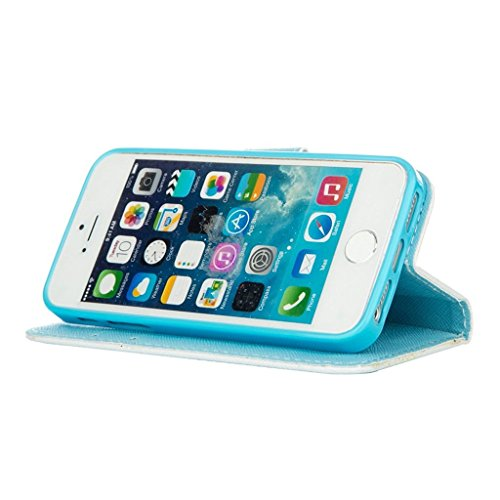 hyait® Case for Apple iPhone 5G/5S Flip Leather Wallet With Card Holder and Kickstand Case Cover RX30 RX13