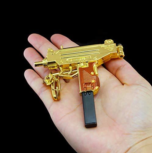B&L Gold Uzi Maschinenpistole Modell Gold Uzi Schlüsselbund 1/6 Skala Autoschlüssel Schnalle Waffe Modell Spielzeugpistolen Modell Action Figure (Small) (Uzi Gun Spielzeug)