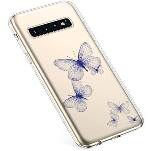Uposao Kompatibel mit Samsung Galaxy S10 Hülle Silikon Schutzhülle Bunt Retro Muster Durchsichtig Case Klar Transparent TPU Tasche Handyhülle Anti-Kratzer Stoßfest,Blau Schmetterling