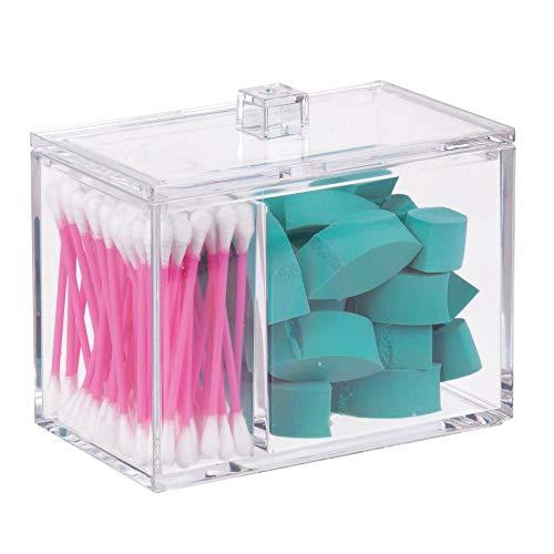 mDesign Dispensador de algodones con tapa – Práctica caja de almacenaje para bastoncillos o discos desmaquillantes – Ideal como organizador de baño o en el juego de tocador – Transparente