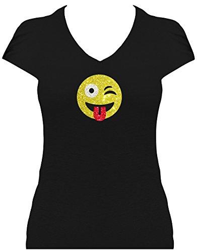 per Funkelnder Glitzeraufdruck Smiley Emoticon T-Shirt Karneval Fasching Kostüm Freches Zwinkern mit Zunge Raus Zwinkersmiley, XL (Zunge Kostüm)