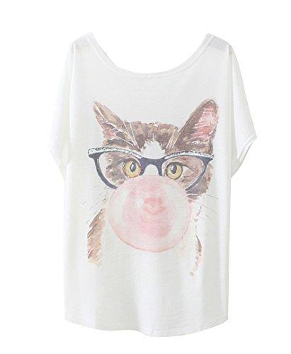 Luna et Margarita Damen Weiss Fledermaus-Shirt mit Baumwolle und Stoffdruck in der Gleichen Größen 59cm. Katze mit Brille