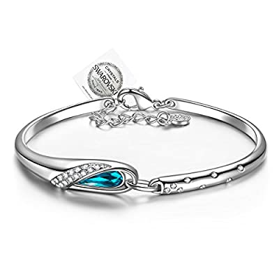 PAULINE & MORGEN Cinderella Bracelet for Women Bangle made with Blue Crystals from SWAROVSKI, Elegant Gift Box Package, Nickel Free Passed SGS Test,18+2cm