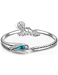 PAULINE & MORGEN Cinderella Bracelet for Women made with Blue Crystals from SWAROVSKI, comes with Swarovski Seal Tag and Classic Jewellery Box. Nickel Free passed SGS test