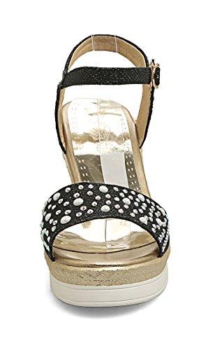 UH Femmes Sandales Bride Cheville Peep Toe à Talons Compenses avec Perle pour Mariage et Loisir Noir