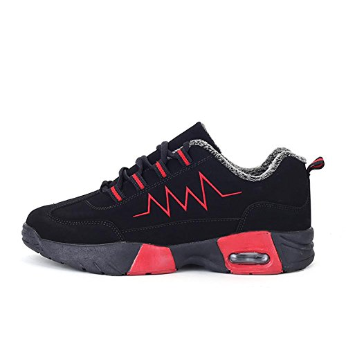 Chaussures De Course Chaussures De Sport Chaussures Pour Hommes Sports De Plein Air Vêtements Anti-dérapants Absorption Des Chocs Coussin D'air Semelles Souples Doublure En Peluche Rouge