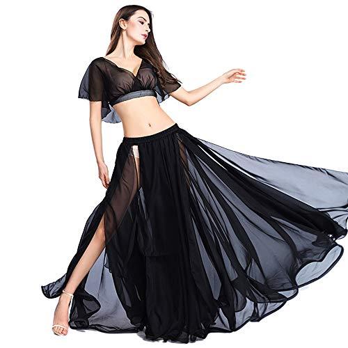 ROYAL SMEELA Bauchtanz Rock Tops Kostüm Set für Frauen Chiffon-Tanzen großer Swing Rock und Tops Outfit Sexy Geschlitzte Kleid Performance-Anzug ()