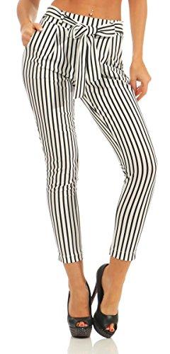 Fashion4Young 5751 Damen Hose Slim-Fit Bundfaltenhose Business Damenhose Gestreift Streifen (weiß, M-36)