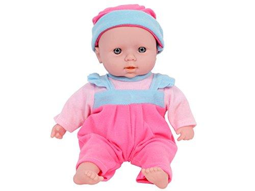 Bambola bebè con 10 suoni - bambolina di circa 30 cm, corpo morbido in vinile, tutina rosa, idea regalo per piccole bambine giocattolo natale compleanno, Marca Alsino, 8440 bambola con cappello