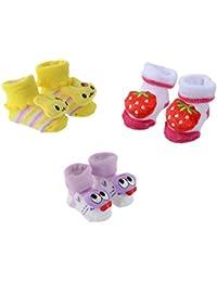 SHOP FRENZY Cute Stylish Designer Baby BOY Girl Kids New Born Infant 0-6 Months Bootie Booty Socks Shoes Prewalker First Walker Soft | 3 Pair of Bootie | 0-6 Months