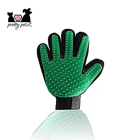 pretty petZ Fellpflege-Handschuh einfachen Entfernung Loser Tierhaare | Für Hunde & Katze in Profi Tiersalon Qualität | + GRATIS E-Book