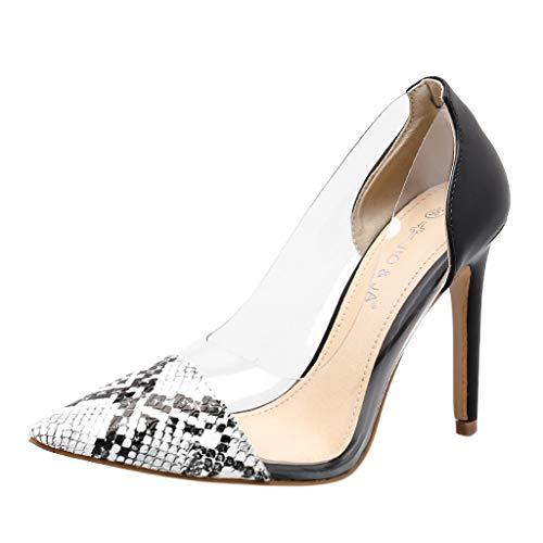 Kitten High Heel (Mymyguoe Damen Pumps Lackleder Spitz Kitten Heel Hochzeit Kleid Schuhe High Heels Sandaletten Transparente Leichte Schlüpfen Einzelne Schuhe Freizeit Stiletto Flacher Mund Leder Arbeit Schuhe)