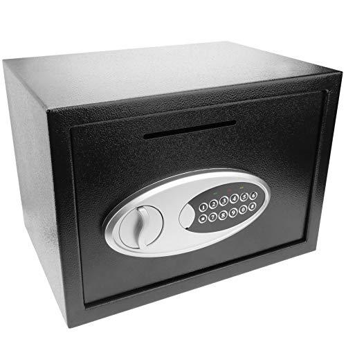 PrimeMatik - Caja Fuerte de Seguridad de Acero con Llaves y Ranura 35x25x25cm Negra BY060